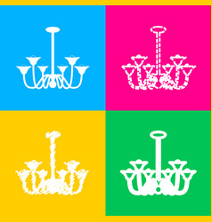 chandelier simple sign four styles of icon on vector image