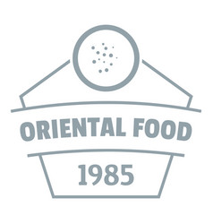 traditional oriental food logo simple gray style vector image