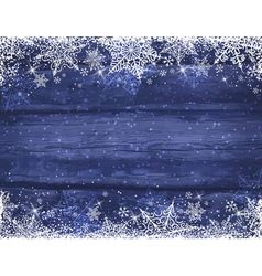 Wooden blue christmas background with snowflakes vector image