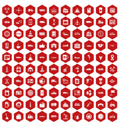 100 gas station icons hexagon red vector