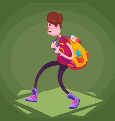 a schoolboy in sneakers comes with a heavy vector image