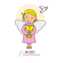 Angel girl with chalice and white dove vector
