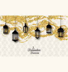 arabic lanterns fanoos for ramadan kareem vector image