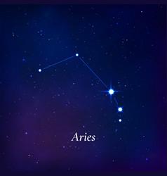 Aries sign stars map zodiac constellation vector