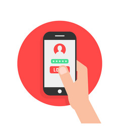 arm hold mobile phone security vector image