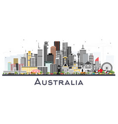 australia city skyline with gray buildings vector image