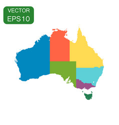 Australia color map with regions icon business vector