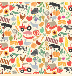 Background pattern with agricultural icons vector