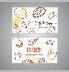 bakery business card template with pastries sweet vector image