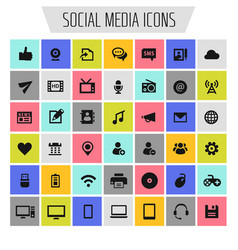 Big social media icon set trendy flat icons vector