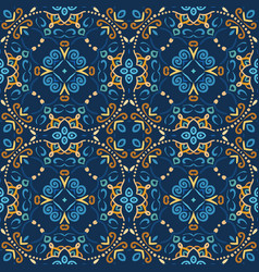 Blue seamless pattern oriental design vector