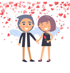 boy holding girl with wings valentine day vector image
