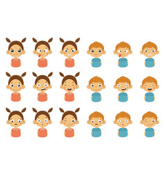 Boys and girls with different emotions set funny vector