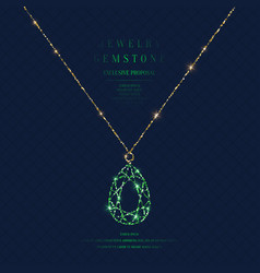 bright poster with a precious pendant with a chain vector image