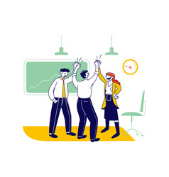 Business colleagues giving highfive in office vector