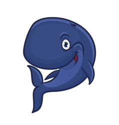 Cartoon smiling blue sperm whale character vector image