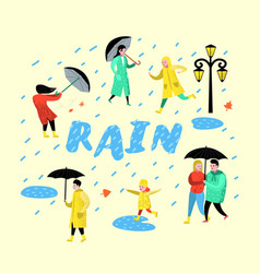 characters people walking in the rain cartoons vector image