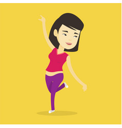 cheerful asian woman dancer dancing vector image