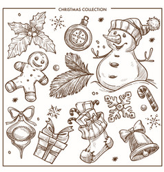 Christmas collection of symbolic traditional vector