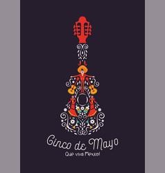 cinco de mayo mariachi guitar card culture icon vector image