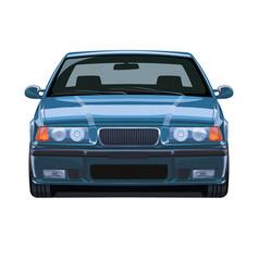 Classic car sedan 80s vector