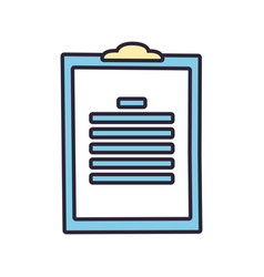 Clipboard with paper sheets line and fill style vector