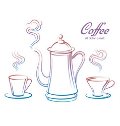 Colorful coffee pot and cups vector