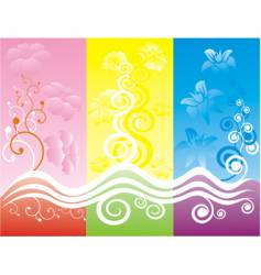 colorful floral swirls vector image
