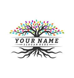 colorful vibrant tree logo design concept root vector image