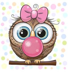Cute cartoon owl with bubble gum vector