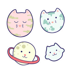Cute cartoon planets with faces vector