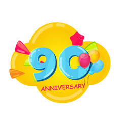 cute cartoon template 90 years anniversary vector image