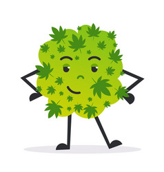 Cute smiling cannabis weed bud cartoon character vector