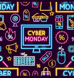 cyber monday neon seamless pattern vector image