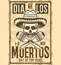 day dead mexican holiday invitation poster vector image
