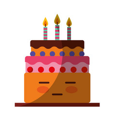 delicious cake brithday with candles kawaii vector image
