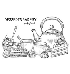 desserts bakery shop banner template hand vector image
