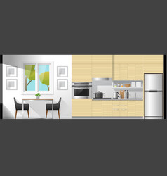 dining room and kitchen interior background vector image