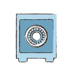 Drawing blue closed box save money bank vector