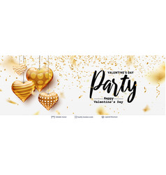 editable party text and golden hearts on white vector image