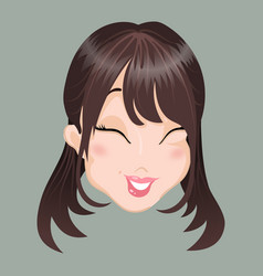 Emoticon asia girl laugh vector