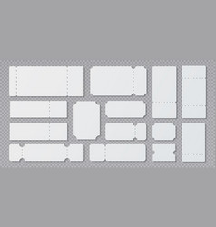 empty ticket templates lottery coupon mockup vector image