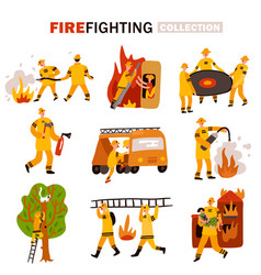 Fire fighting flat icons set vector