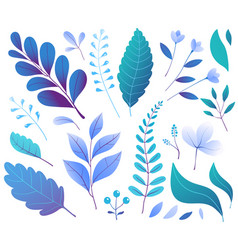 floral decorative leaves plants blue hand drawn vector image