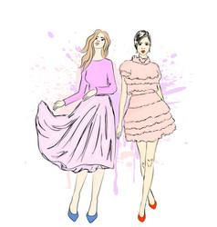 girl models in dresses vector image