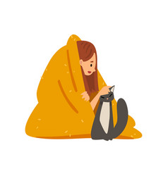 Girl sitting on floor under blanket and stroking vector