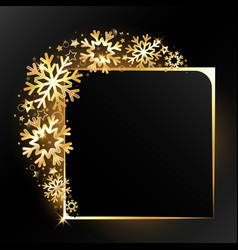 Golden snowflakes new year frame vector