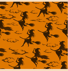 halloween witch seamless pattern vector image
