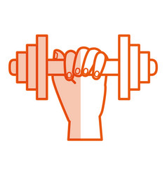 hand human with weight lifting equipment icon vector image