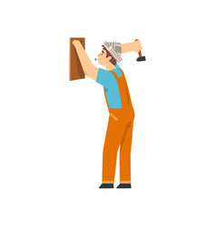 handyman hanging wooden board on wall using hammer vector image